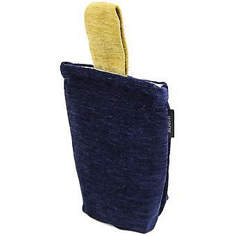 Mcalister textiles alston chenille navy blue + yellow door stop