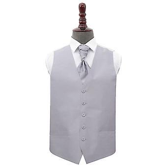 Sølv Plain shantung bryllup vest & amp; Cravat set