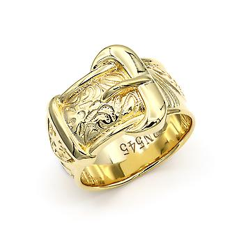 Jewelco London Mens Flash-plated Solid Brass Heavy Weight Single Buckle Ring 16mm Size Z+1