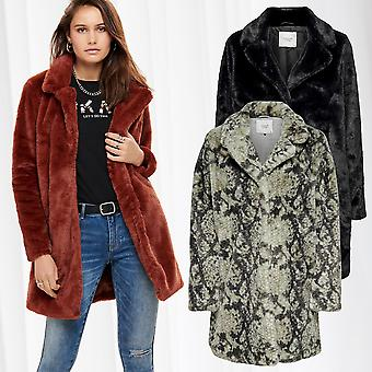 JDY Women Coat Transition Jacket Plush Faux Fur Synthetic Animal Print Only