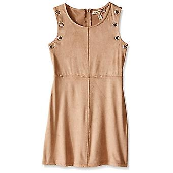 Speechless Big Girls Knit Suede Knee Length Sleeveless Round Neck, Camel, 14