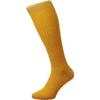 Pantherella Laburnum lã merino sobre as meias bezerro-ouro brilhante