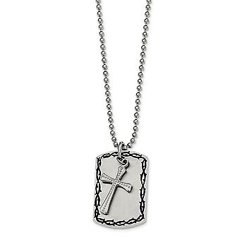 Stainless Steel Moveable Engravable Fancy Lobster Closure Brushed Polished and 2 Piece Necklace 22 Inch Jewelry Gifts fo