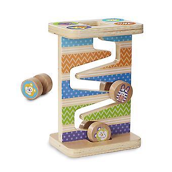 Melissa & Doug eerste spelen houten Safari zig-zag toren met 4 rollende stukken