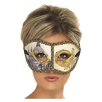 Womens Maschera Veneziana Colombina Venezia, oro costume accessorio