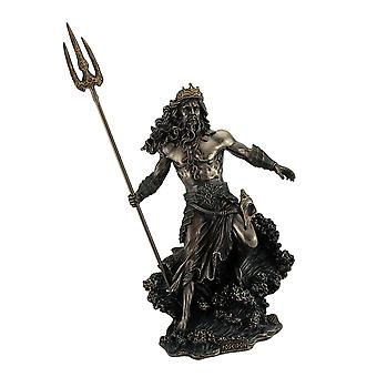 Poseidon Greek God of the Sea Commanding Waves Statue 20 Inch