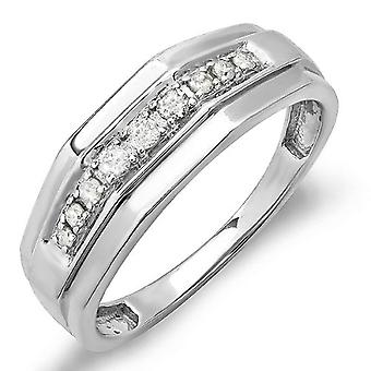 Dazzlingrock Collection 0.25 Carat (ctw) Sterling Silver White Diamond Mens Wedding Anniversary Band 1/4 CT