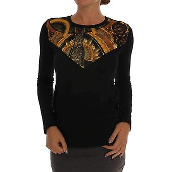 Black Stretch Baroque Pullover Sweater -- SIG6814064