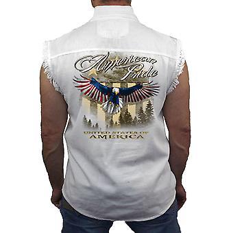 Мужская гордость Америки Соединенные Штаты рукавов джинсовые рубашки белый
