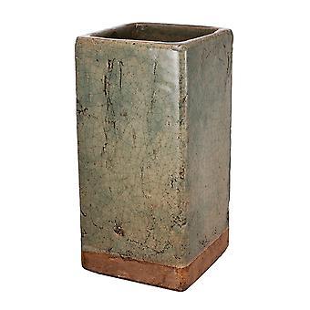 Tekstureret keramik plantage i firkantet form, stor, skifer grå og brun