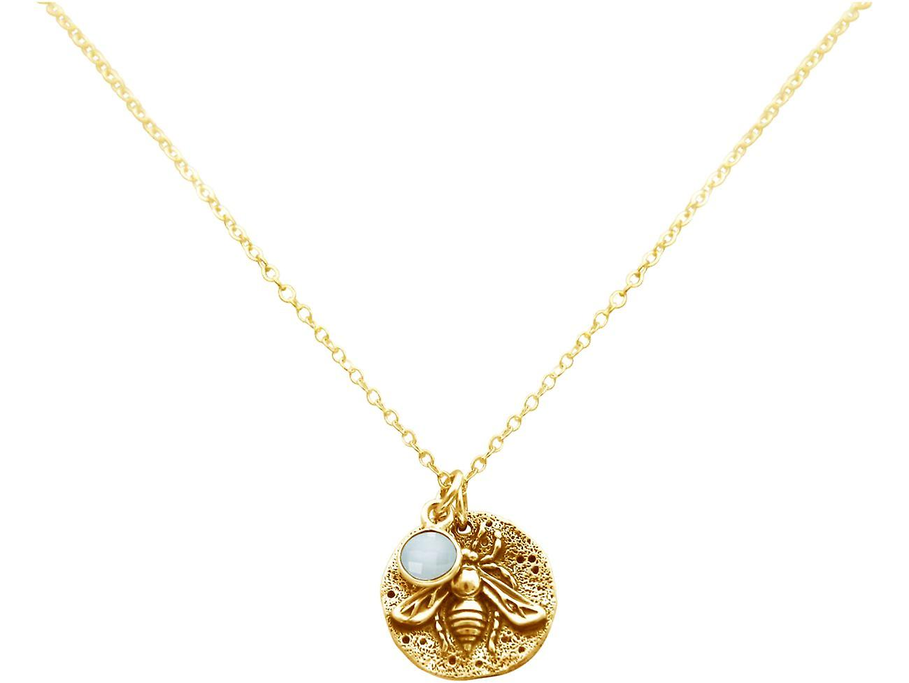 Gemshine BIENE Halskette Münze Anhänger 925 Silber, vergoldet, rose - Chalcedon