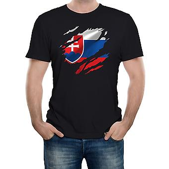 Reality glitch torn slovakia flag mens t-shirt
