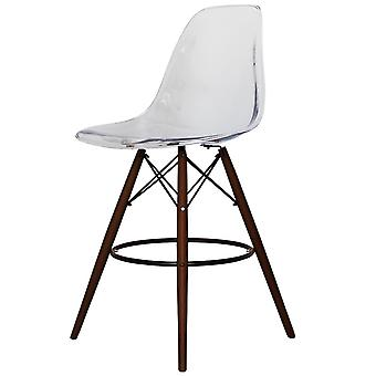 Charles Eames Style Ghost Clear Plastic Bar Stool - Jambes de noyer