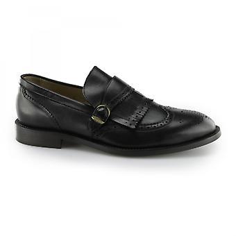 Hudson Brunswick Mens Couro Brogue Monk Sapatos Preto