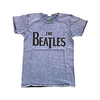 La T Shirt dei Beatles Black Drop T Band Logo Ufficiale Mens Denim Blue Burn Out