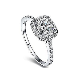 18k white-gold plated micro-insert halo ring