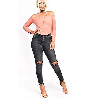 IKRUSH Womens Anya Ripped Skinny Jeans