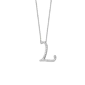 925 Sterling Silver Cubic Zirconia Initial L Adjustable 16 18 Inch Necklace 18 Inch Jewelry Gifts for Women