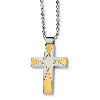 Stainless Steel Brushed and Polished Yellow Ip plated Religious Faith Cross Necklace 22 Inch Jewelry Gifts for Women