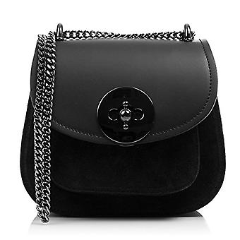 FIRENZE ARTEGIANI Real Leather Women's Bag. Genuine ruga leather bag and suede luxury. Chain for shoulder. Hand bag. Shoulder bag Made in ITALY. REAL ITALIAN PELLE 23x15x12 cm. Color: BLACK