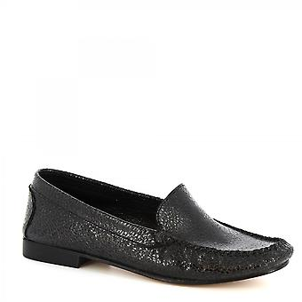 Leonardo Shoes Women's handmade loafers shoes black calf leather crocodile print