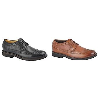 Roamers Mens Full Fitting 5 Eye Lace Gibson Sapatos de couro