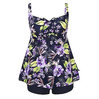 Plus Size Purple Floral Print Tie Back Fashion Cinch Swimsuit Tankini Set