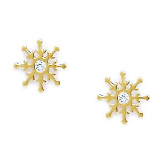 14k Yellow Gold CZ Cubic Zirconia Simulated Diamond Medium Star Screw back Earrings Measures 9x9mm Jewelry Gifts for Wom