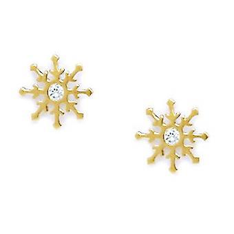14k Yellow Gold CZ Cubic Zirconia Gesimuleerde Diamond Medium Star Schroef terug Oorbellen maatregelen 9x9mm sieraden geschenken voor Wom