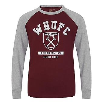 West Ham United Boys T-Shirt Long Sleeve Crest Kids OFFICIAL Football Gift