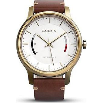 Garmin - Sports watch - vivomove with gold case leather strap - 010-01597-21