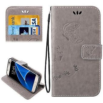 Für Samsung Galaxy S7 Brieftasche Fall, elegante Pferd Leder Schutzhülle, grau