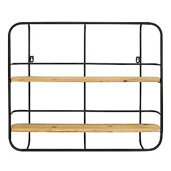 S 2 Farmhouse Wood Shelves with Black Metal Frame