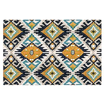 Flannel ethnic style square non-slip rug for living room