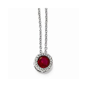 Cheryl M 925 Sterling Silver Fancy Lobster Closure With Simulated Ruby and Cubic Zirconia Pendant Necklace 18 Inch Jewel