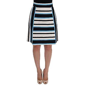 דולצ ' ה & גבאנה לבן שחור כחול פסים כותנה חצאית--SKI1037232