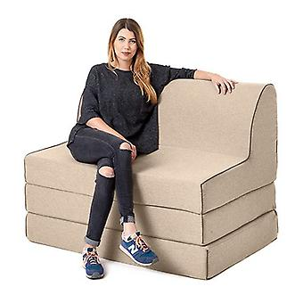 Changing Sofas Latte Wool Effect 'Olivia' Foam Double Fold Out Sofa Bed Z Bed Lounger