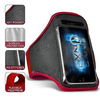 XXLarge Red Excercise Outdoor Sports Armband Telefonhållare Case Kör Gym för Nokia C1 Plus