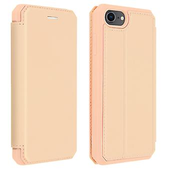 Genuine Leather Stand Folio Case Card Slots iPhone 7 /8 /SE 2020-Dux Ducis Pink