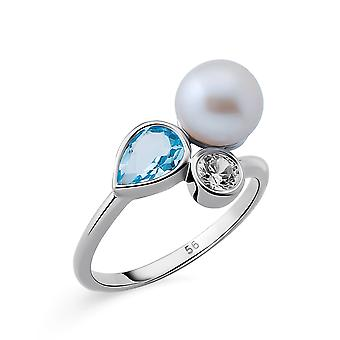 Orphelia Silver 925 Ring with Blue Topaz  & Fresh water Pearl rhodium  plated