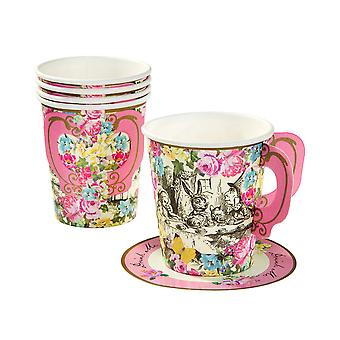Truly Alice in Wonderland Paper Cups Handle and Saucers x 12 Mad Hatters Tea Party