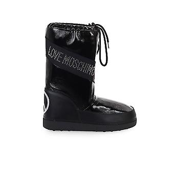 LOVE MOSCHINO BLACK PATENT LEATHER SKI BOOT