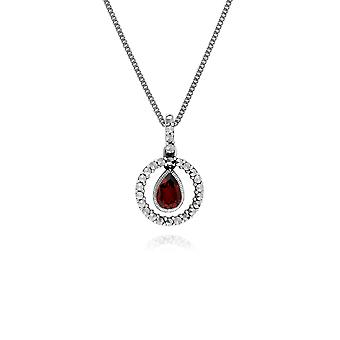 Classic Pear Garnet & Marcasite Halo Pendant Necklace in 925 Sterling Silver 214P303206925