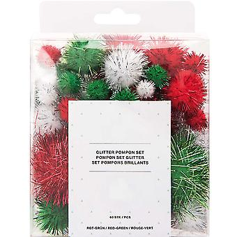 60 Tinsel Craft Pom Poms - Christmas Glitter Colours (10 to 45mm)