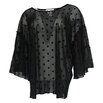 Masseys Women's Plus Top Sheer Ruffle Sleeve Black