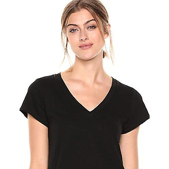 Daily Ritual Women's Lightweight Lived-In Cotton V-Neck, Noir, Taille X-Large