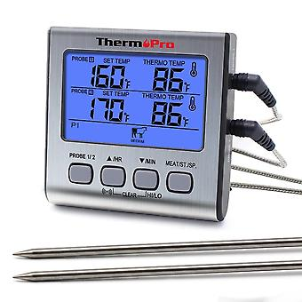 Dual Probes Digital Outdoor - Thermometer Cooking Bbq Oven Thermometer With Big Lcd Screen