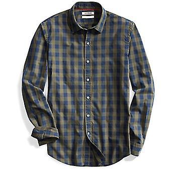 Goodthreads Men-apos;s Slim-Fit Long-Sleeve Gingham Plaid Poplin Shirt, Green Dept...