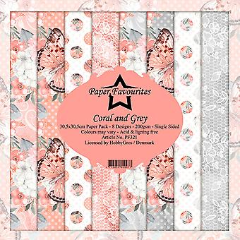 Dixi Craft Coral and Grey 12x12 Inch Paper Pack