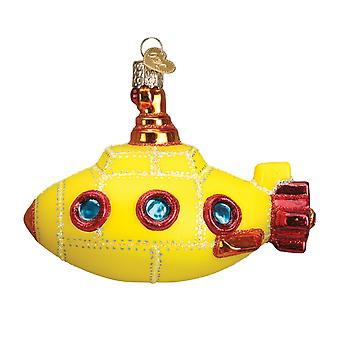Old World Christmas Groovy Yellow Submarine Holiday Ornament Glass